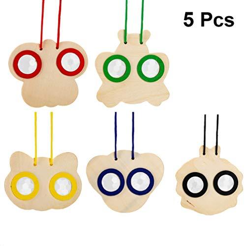 Exceart 5 Stück Kinder Kaleidoskop Brille Holz Tier Form M Fragen DIY Hängen Anhänger nach Hause Ornament für Jungen Mädchen Pädagogische Spielzeug Geschenk
