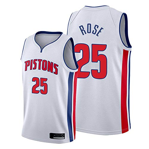 Haoshangzh55 Baloncesto NBA Jersey-Detroit Pistons # 25 Derrick Rose, Aficionados Y Transpirable Hombre Camiseta Deportiva Sin Mangas De La Camiseta De New Comfort Tela,Blanco,XXL(185~190CM)