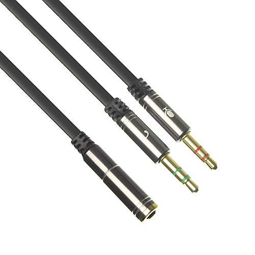 ANE オーディオ変換ケーブル 4極ステレオ端子をマイクとヘッドホン信号を2つの端子に分岐 オス側分岐 4極メス (x1) 3極オス (x2) ステレオミニプラグ 3.5mm CTIA規格 (4極ジャック マイク,ヘッドホンプラグ) PC タブレット スマホ テレワーク ヘッドホン ヘッドフォン コード ヘッドセット イヤホンマイク プラグ変換ケーブル ヘッドセット用変換アダプタケーブル ジャックコネクタケーブル コンポーネントケーブル マイク付きイヤホンをPCで使用するための変換ケーブル (iPhone/Xperia純正イヤホンには対応不可) (黒)OP15-SL