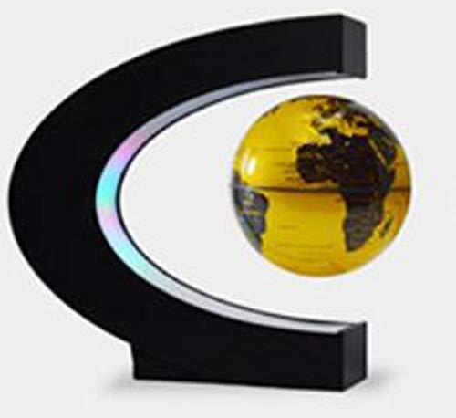 JJDSN C-Type Magnetic Levitation Globe, 3 inch wereldkaart met LED-lampen, Home Decoration demonstratie Teaching, 3 kleuren, zwart