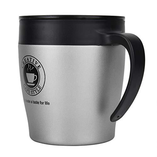 Okuyonic Taza Termo de la Taza de café del Acero Inoxidable 330ml para la Leche para la Oficina(Silver)
