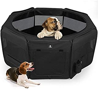 X-ZONE PET Portable Foldable Pet Dog Cat Playpen Crates Kennel/Premium 600D Oxford Cloth,Removable Zipper Top, Indoor and ...