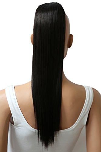 PRETTYSHOP 55cm Haarteil Zopf Pferdeschwanz Haarverlängerung Glatt Schwarzbraun PH503