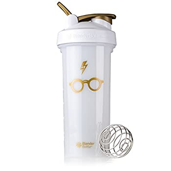 BlenderBottle Harry Potter Shaker Bottle Pro Series Perfect for Protein Shakes and Pre Workout 28-Ounce Bolt & Glasses