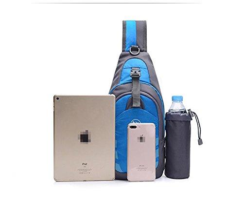 LYY loisirs Sac de Poitrine Tissu en nylon Surface douce Courir Ride Escalade A pied Mouvement Sac à bandoulière Pack de poitrine Sac Messenger Sling bag, Blue