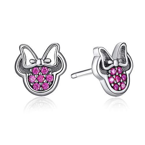 Minnie Mouse Rosa Plata de Ley 925 Forma Roja Brillante Minnie Fashion Jewelry Special Store