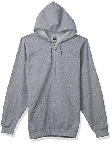 GILDAN Men's Full Zip Hooded Sweatshirt Shirt, Sport Grey, XXL