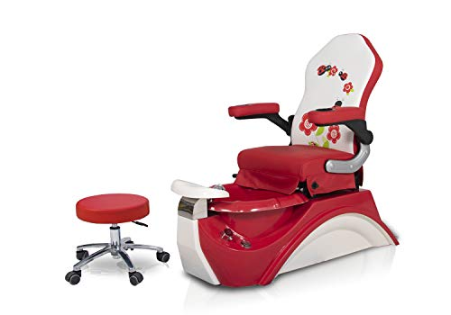 Kids Pedicure Chair RED Flower Childs Pedicure Spa w Matching Chair Nail Salon Furniture & Equipment