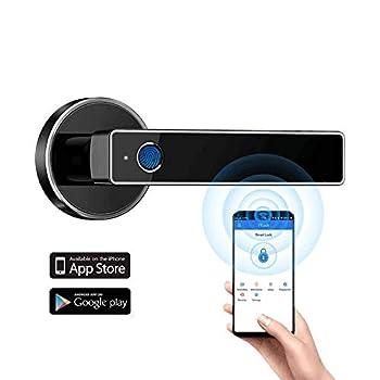 Tiffane Biometric Fingerprint Door Lock Bluetooth WiFi Door Lock Smart Door Lock for Front Door Smart Door Lever  Black