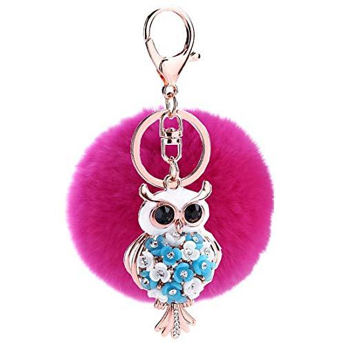 Schlüsselanhänger Plüsch Eule Bommel Taschenanhänger mit Strass,Pompom Kugel Schlüsselanhänger,Plüsch Auto Schlüsselring,Handtasche Schlüsselbund Weich Keychain Dekor (15#)