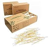 Confezione da 3 x 200 cotton fioc di bambù 100% biodegradabili, ecologici, versatili, durevoli e compostabili, per genitori, bambini e neonati.