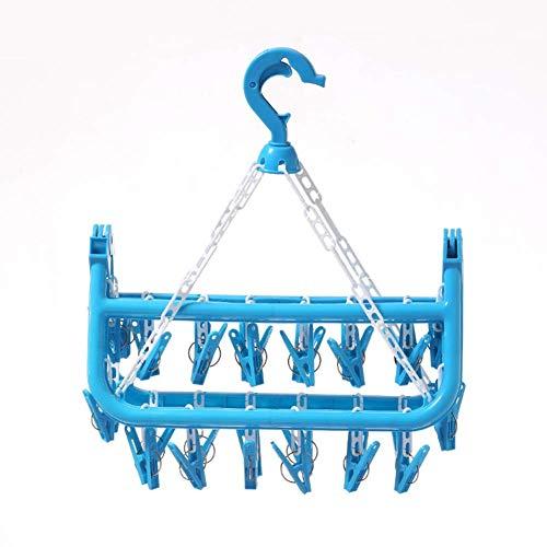 YF-SURINA 32 Clips Colgador de ropa Plegable Estante de almacenamiento de plástico Ropa interior Ropa de bebé Bufanda Calcetín Estante de secado anti-deformación Organizador para el hogar,Azul,Españ