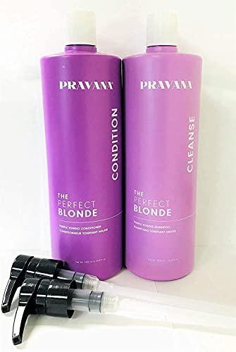 Pravana Perfect Blonde Purple Toning Shampoo & Conditioner Liter + Pumps