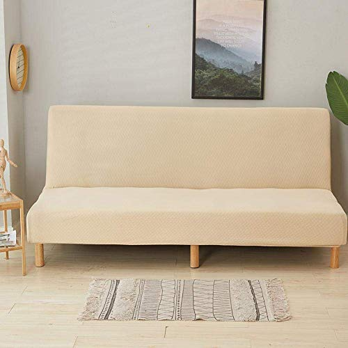 Iwinna Beauty Armless Sofa Cover Folding Sofa Bed Cover Waterproof Elastic Thickened All-Covered 3-Seat Universal Couch Protector