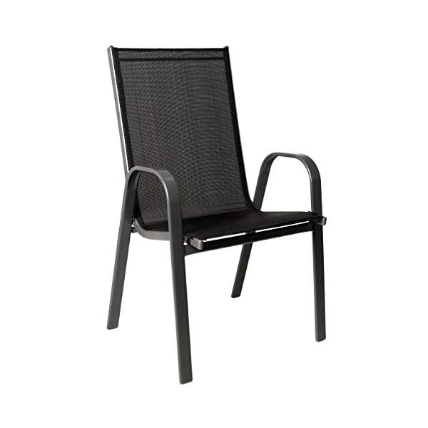 Nexos 4er Set Gartenstuhl B-Ware Stapelstuhl Stapelsessel Hochlehner – Textilene Stahl – stapelbar – Farbe: Rahmen…