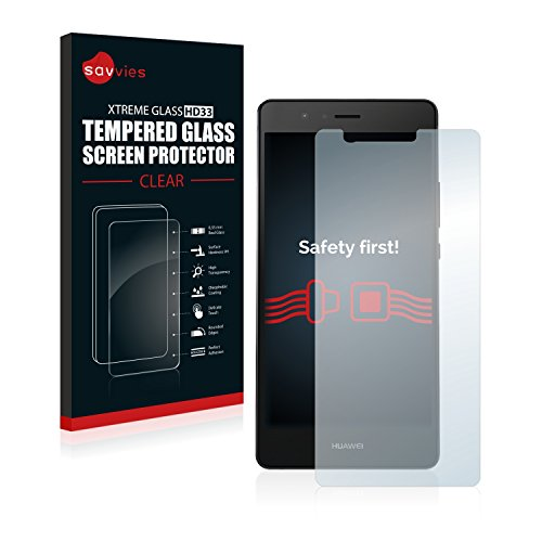 savvies Cristal Templado Compatible con Huawei P9 Protector Pantalla Vidrio Proteccion 9H Pelicula Anti-Huellas