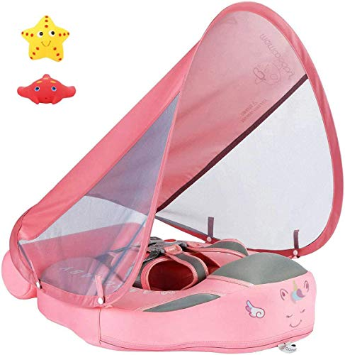 VQAnt Newest Mambobaby Non Inflatable Swim Trainer Size Improved Add Tail Never Flip Over UPF 50 Sun Canopy Solid Swimming Pool Float