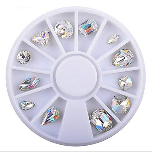 LNNUKc Rhinestone Nail Art Stickers Raindrop Shaped 3D Nail Decals Nail Studs Accessories Manicure Tool for Home Nail Art Shop Transfer Adhesive Glitters DIY Decoration (Color : Multi-colored)