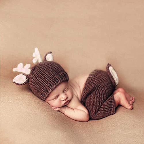 Newborn fotoshooting, Neugeborene Fotografie Kostüm Niedliche Neugeborene Baby Foto Requisiten häkeln Hirsch Hut Bodysuit Fotografie Requisiten Kostüm