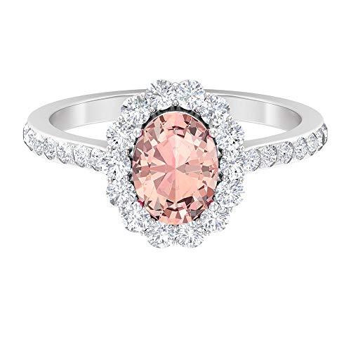 2 CT Lab Created Morganit Verlobungsring mit Diamanten, Halo-Ringe für Frauen (8 x 6 mm Ovalschliff im Labor von Morganit), 14K Weißes Gold, Size:EU 66
