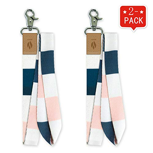 Yihor 2er Pack ID Lanyard Abzeichen Kartenhalter Lanyard Schlüsselbund Schlüsselband Telefon Pink Blue Lanyard für Frauen Männer (Rosa weiß)