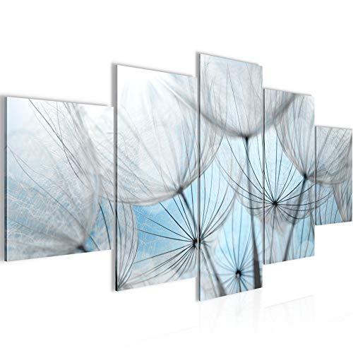 Runa Art - Cuadro Diente León 200 x 100 cm 5 Piezas XXL Decoracion de Pared Diseño Azul 206151b