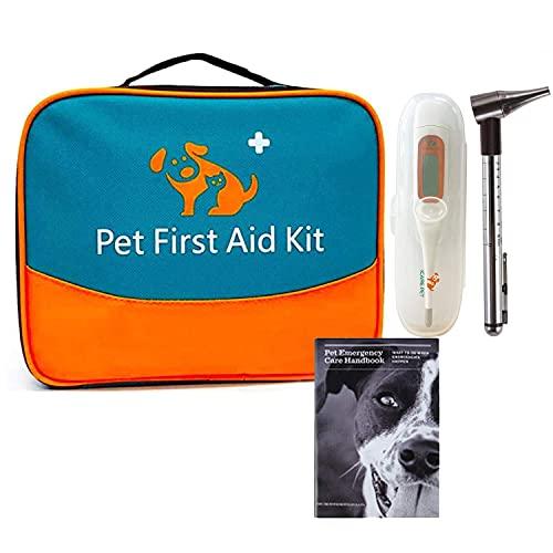 Erste Hilfe Set für Haustiere, tierärztliche Erste-Hilfe-Tasche für Hunde, Katzen, Kaninchen, Tiere, inklusive Otoskop, Thermometer,Tierfutter, perfekt für die Heimpflege und für Outdoor-Notfälle