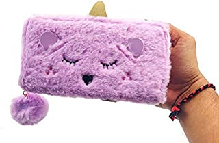 G4GIFT Unicorn Fur Wallet Clutch for Girls Makeup Cosmetic Holder Purse (Pack of 1)(Size: 19 x 10 x 2 cm)(Multi) (Purple)