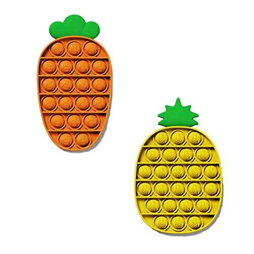 Myston 2 Silicone squeezes Sensory Stress Relief Toys, Autistic Stress Relief, Suitable for Children and Adults or Autistic use, Puzzle Games. (Pineapple Yellow + Carrot)