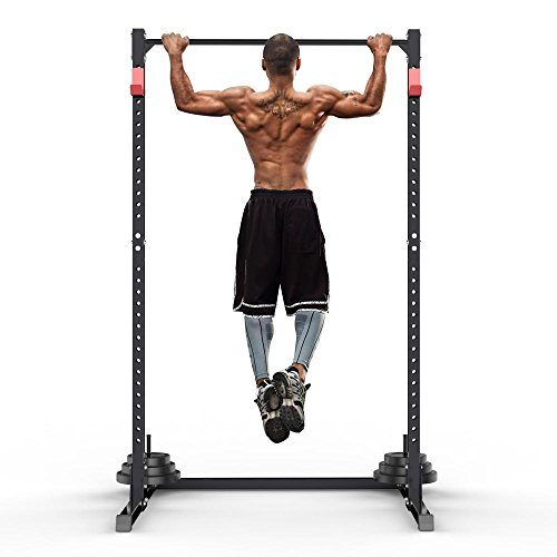 Yaheetech Gym Master Adjustable Squat Rack Power Cage,Pull Up Bar Exercise Stand Bench Press,without Barbells