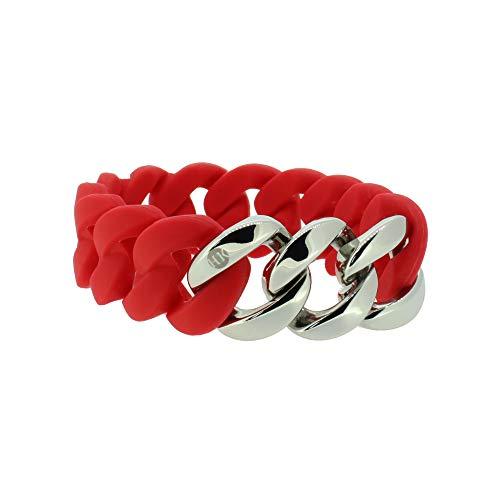 Hanse-Klunker Armband Damen ORIGINAL Silikon Rot, Edelstahl Silber Armreif Armkette Frauen Mädchen Größe 19-20 cm inkl. Schmuck-Geschenk-Box
