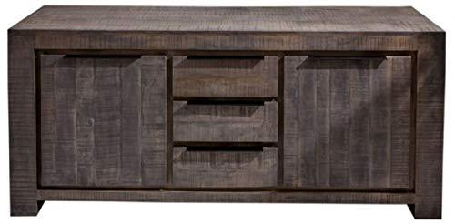 Casa Padrino aparador de Estilo campestre Gris 175 x 50 x A. 76 cm - Armario de Madera Maciza con 2 Puertas y 3 cajones - Muebles de Salón