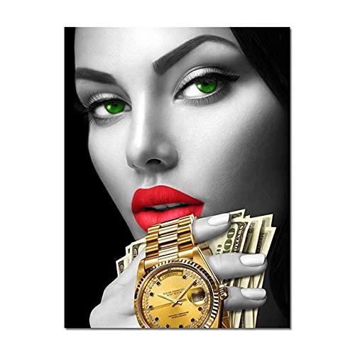 Moda sexy Mujer Labios rojos Uñas Maquillaje Chica Dólares Dinero Billete Reloj...