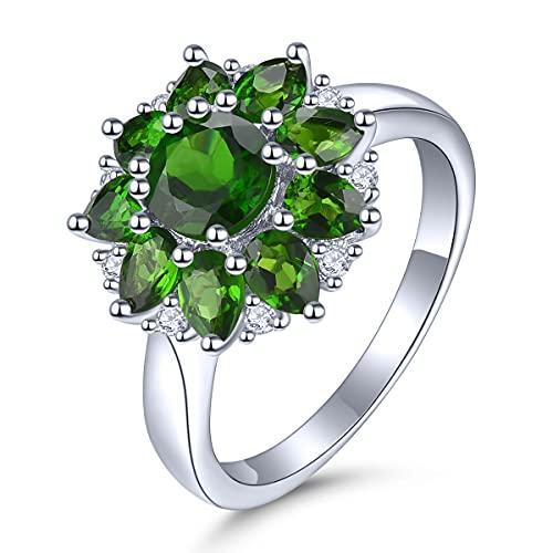 Lohaspie - Anillos de plata de ley 925 para niñas, anillos redondos de piedra natural, anillos de diópsido, declaración de compromiso, joyería fina regalo para ella (P 1/2)