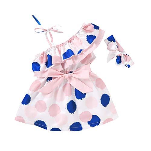 MAHUAOYIXI Vestido de princesa para niña, de verano, sin tirantes de lunares + diadema para niña multicolor 12-18 Meses