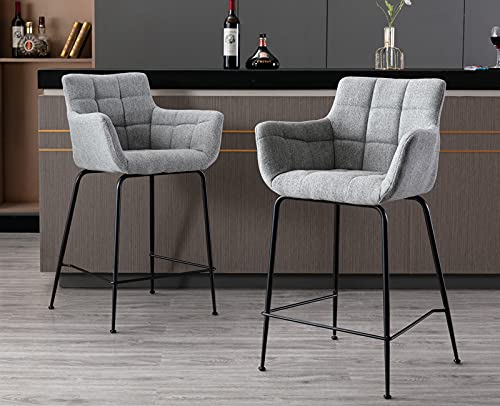 CIMOTA Grey Counter Height Bar Stools with Back Set of 2, Upholstered 24 26 Inches Counter Stools Chairs, Comfy Kitchen Island Chairs with Arm for Home Kitchen Bar/Pub/Cafe