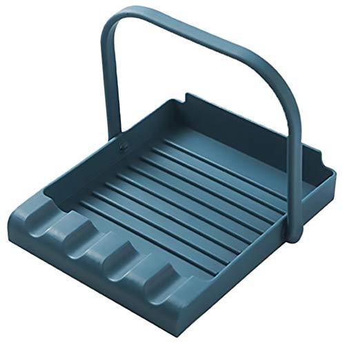 Cabilock Poggia Cucchiaio da Cucina Spatola di Plastica Porta Mestolo da Cucina Portaoggetti da Cucina Bacchette Copri Pentola Supporto per Cucina (Blu)