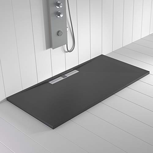Shower Online Plato de ducha Resina WIDE - 70x120 - Textura Pizarra - Antideslizante - Todas las medidas disponibles - Incluye Rejilla Inox y Sifón - Antracita RAL 7011