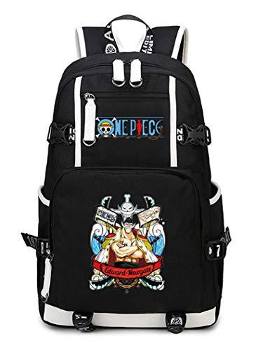 WANHONGYUE One Piece Edward Newgate Anime Backpack Schüler Schultasche Laptop Rucksäcke Freizeittasche Daypack Schwarz-12