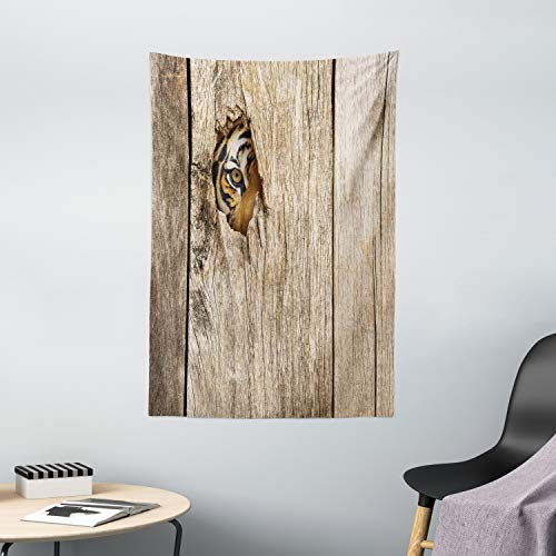 Ambesonne Safari Tapestry, Siberian Tiger Eye Looking Through Wooden Peep Hole in Spy Predator Big Cat Wild Print, Wall Hanging for Bedroom Living Room Dorm Decor, 40