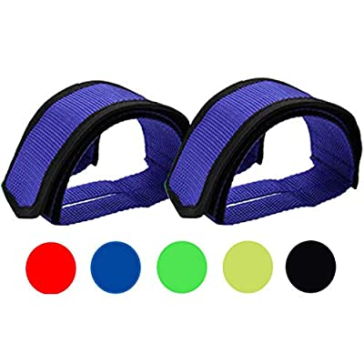 Qeedy Bike Pedal Straps Pedal 2 Pieces Universal Bicycle Feet Strap Pedal Straps Toe Clips Straps Tape for Fixed Gear Bike (Blue)