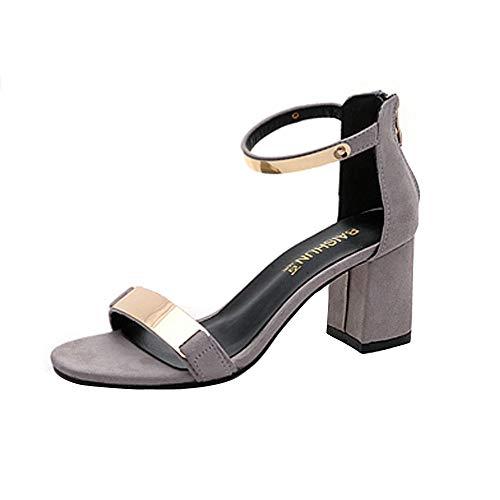 Bolanq Sandalias de verano con puntera abierta para mujer, tacón grueso, zapatos de gladiador