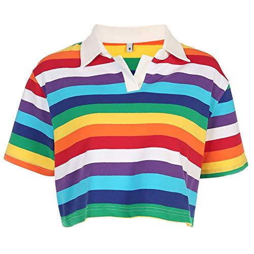 Women Rainbow Stripes Printed T-Shirt Korean Style Turn-Down Collar Crop Tops (L)