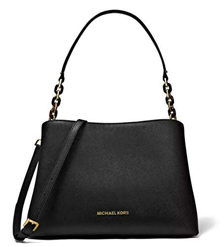Michael Kors Sofia Large Leather EW Satchel Shoulder Bag (Black)