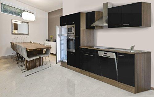 respekta Bloc de cuisine encastrable 370 cm imitation chêne York noir four vitrocéramique micro-ondes armoire pharmaceutique lave-vaisselle