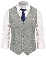 Premium wool blend tweed herringbone slim fit wedding tuxedo waistcoat suits vest Features: Sleeveless; V-Neck; Single breasted; Handkerchief hem; Three real pockets in the front; 5 buttons Strap in the back waist, adjust for best fit, Front is Tweed...