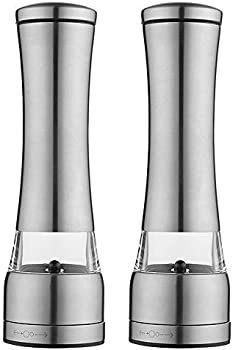 2-Pieces Salt and Pepper Grinder Set with Dust Cover Stand