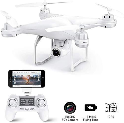 GPS-drone met camera - RC-drones voor beginners, WiFi FPV-drone met / 1080P HD-camera/spraak- en APP-besturing/trajectvlucht/hoogte vasthouden, VR-spel, voor volwassenen en kinderen