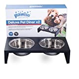 PAWISE Elevated Pet Feeder, Double Feeder Raised Dog Feeder Stainless Steel Dog Bowl with Wooden Frame(750ml x 2