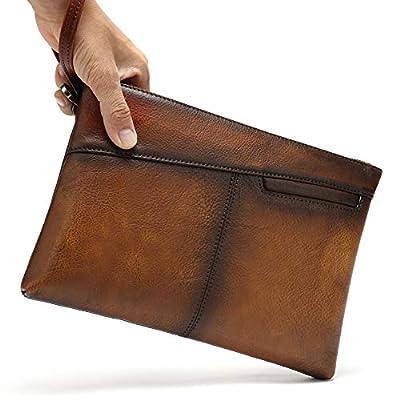 NIUCUNZH Genuine Leather Mens Clutch Bag Man Purse Handbag 12 inches Large Hand Bag Big Clutch Wallet Dye Brown
